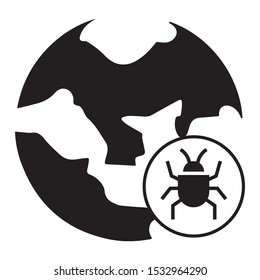 Virus Malware Threat Map Vector Icon Massive Cyber attacks around the globe Design