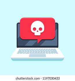 Virus notification on notebook screen. Malware attack laptop pc, computer viruses or piracy fraud hacking secure, trojan virus notification. Internet spam or blackmail threat alert vector concept