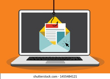 Virus on email. Email scam. Insecure digital communication concept. Cyber attack concept.