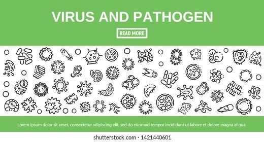Virus and pathogen banner. Outline illustration of virus and pathogen vector banner for web design
