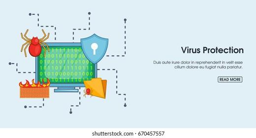 Virus protection horizontal concept. Cartoon illustration of virus protection banner horizontal vector for web
