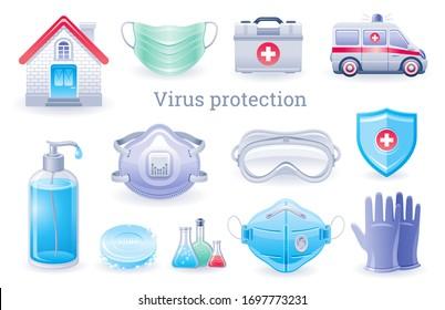 Virus protection icon. Corona virus Covid prevention collection, medical ppe element set. Soap bottle, respirator mask, ambulance car, gloves. Coronavirus vector illustration isolated white background