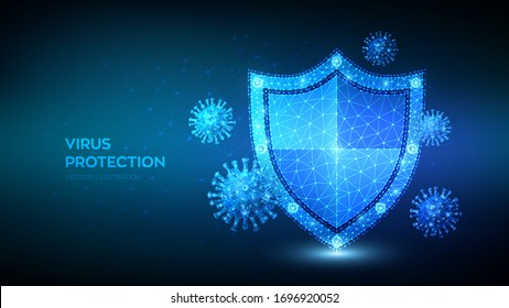 Virus protection. Low polygonal shield and Covid-19 virus cells. Coronavirus 2019-nCoV safety concept. Microbiology and medicine. Antibiotic, vaccination against coronavirus. Vector illustration.