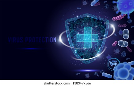 Virus protection vector web banner, website page template. China Wuhan coronavirus epidemic. Polygonal style  shield with protecting from bacteria, corona virus, microbes. Microbiology and medicine.