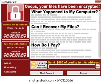 Virus ransomware malware threat extortionist computer screen red window