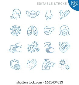 Virus related icons. Editable stroke. Thin vector icon set