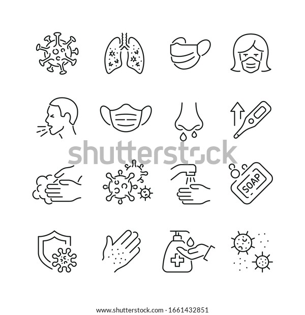 Virus related icons: thin vector icon set, black and white kit