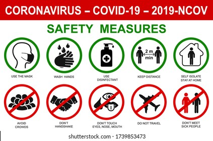 Сorona virus set infographic illustration icons. Concept with protective safety measures and precautions warning signs antivirus icons related to coronavirus, 2019-nCoV, COVID-19 infection