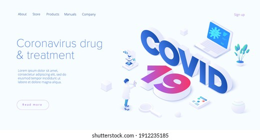 Virus vaccination in isometric vector design. Flu or coronavirus research. Medical covid antidote or antivirus vaccine. Pandemic background. Web banner layout template.