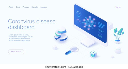 Virus vaccination in isometric vector design. Flu or coronavirus statistics. Medical covid antidote or antivirus vaccine. Pandemic dashboard. Web banner layout template.