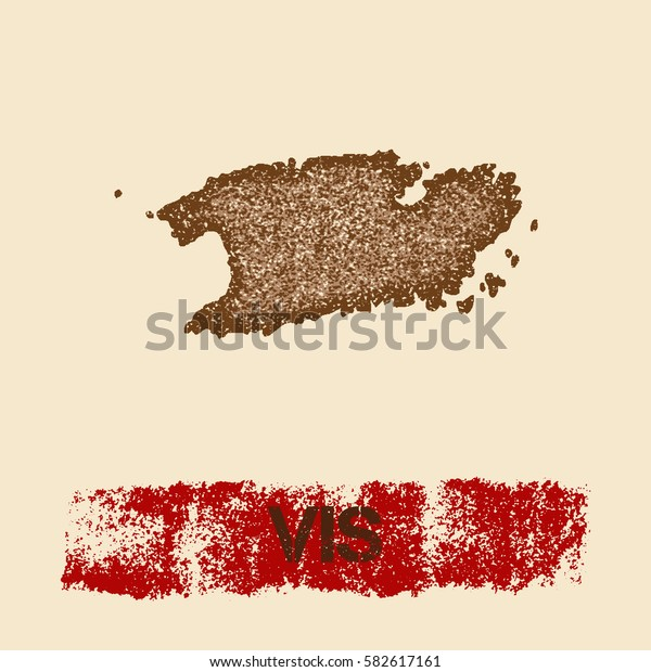 Vis distressed map. Grunge patriotic poster with textured Vis outline ink stamp and roller paint mark, vector illustration.