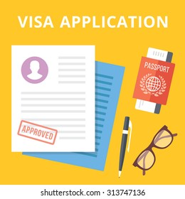 Visa application flat illustration concept. Top view. Modern flat design concepts for web banners, web sites, printed materials, infographics. Yellow background. Creative vector illustration
