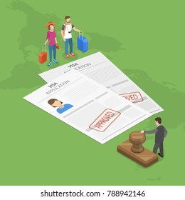 Visa application flat isometric vector concept. Young couple with trunks for traveling are staying in front of the embassy official, with two approved paper visa applications, between them.