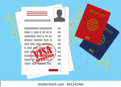 visa approved blank or work permit and passport. Flat design, vector illustration.