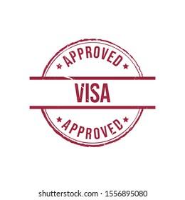 Visa Approved grunge rubber stamp. Vector illustration on white background. Business concept round grunge stamp pictogram