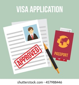 visa approved. work permit. business and lifestyle vector illustration.