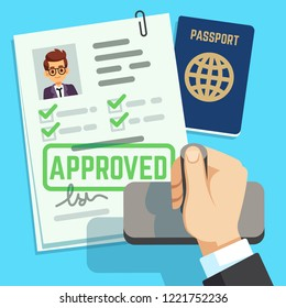 Visa concept. Passport or visa application. Travel immigration stamp vector illustration