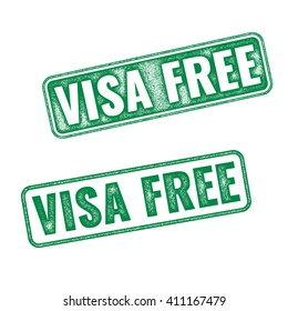 Visa free green textured vector rubber stamp fro travelling background