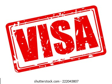 VISA red stamp text on white