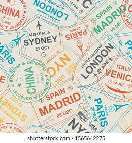 Visa seamless pattern. Stamp travel visa repeated pattern. London, Sydney, Paris, Madrid, Spain, USA, Venice, China. Colorful signs on the light base pattern.