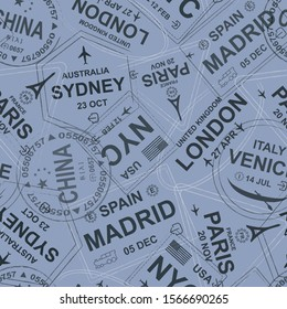 Visa seamless pattern. Stamp travel visa repeated pattern. London, Sydney, Paris, Madrid, Spain, USA, Venice, China. Dark blue, purpul