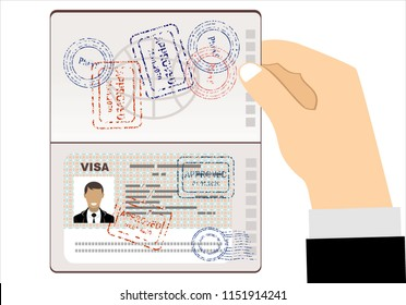 Visa Stamp Passport. Men hold travel identification document. Flat vector illustration.