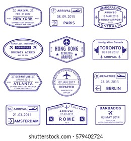 Visa stamp set. Arrival and Departure stamps from passport. Vector illustration.