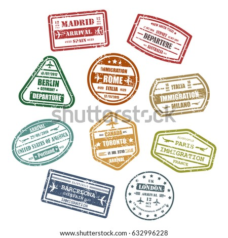 Visa Stamps Passport Signs Travel Madrid Stock Vector Royalty Free