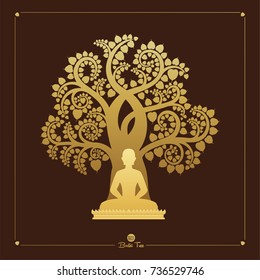 Visakha Puja Day, Buddha statue and Golden Bodhi tree (Sacred tree, Ficus religiosa L.) is a symbol that uses Buddhism. vector illustration.