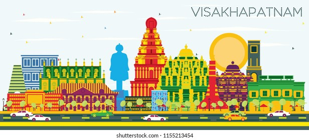 Visakhapatnam India City Skyline with Color Buildings and Blue Sky. Vector Illustration. Business Travel and Tourism Concept with Historic Architecture. Visakhapatnam Cityscape with Landmarks.
