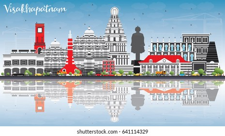 Visakhapatnam Skyline with Gray Buildings, Blue Sky and Reflections. Vector Illustration. Business Travel and Tourism Concept with Historic Architecture. Image for Presentation Banner Placard and Web.