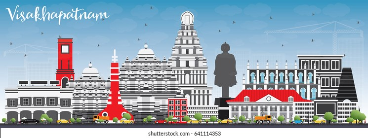 Visakhapatnam Skyline with Gray Buildings and Blue Sky. Vector Illustration. Business Travel and Tourism Concept with Historic Architecture. Image for Presentation Banner Placard and Web Site.