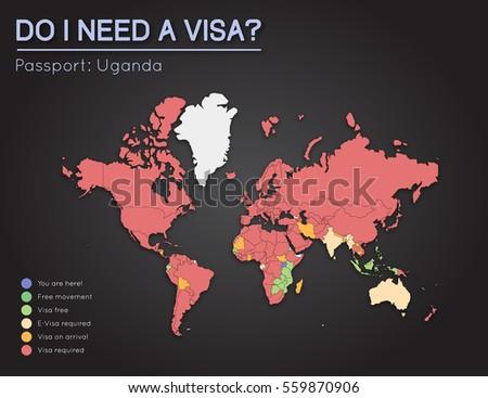 Visas Information Republic Uganda Passport Holders Stock Vector ...