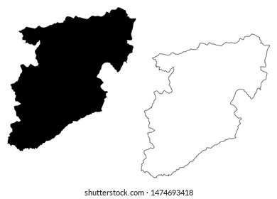 Viseu District (Portuguese Republic, Portugal) map vector illustration, scribble sketch Viseu map