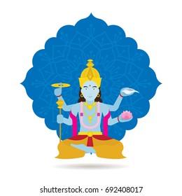 Vishnu Hindu God or Deity, God of Protection and Preservation of Good in Hinduism