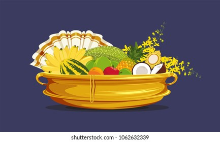 Vishu Kani, Fruits and vegetables in a bronze vessel, Happy vishu, Kerala festival