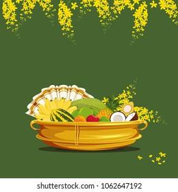 Vishu Kani, Fruits and vegetables filled in a bronze vessel, Kerala Festival