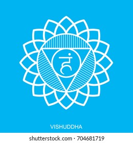 Vishuddha. Chakra vector isolated minimalistic flat icon - for yoga studio, banner, poster, symbol used in Hinduism, Buddhism and Ayurveda. Editable concept. Simple white and blue.