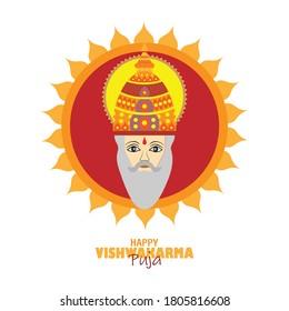 Vishwakarma Puja is a day of celebration for Vishwakarma. Indian God and idols of Hinduism Vector illustration