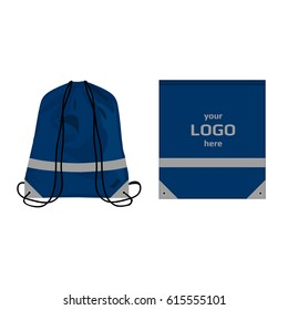 Visibility drawstring bag blue navy color with reflective parts and place for logo, isolated vector.