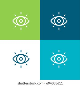 Visibility green and blue material color minimal icon or logo design