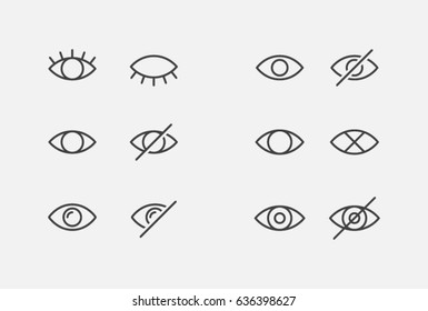 visible invisible icon symbol sign collection