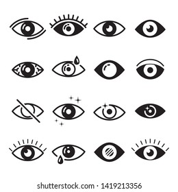 Visible, sleep and medicine supervision observe, lens or cry, eyesight health outline silhouette vector isolated symbols