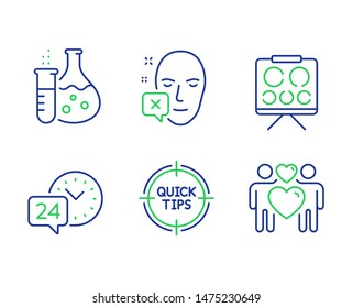 Vision board, 24h service and Face declined line icons set. Tips, Chemistry flask and Love couple signs. Eye check, Call support, Identification error. Quick tricks. Business set. Vector