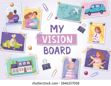 Vision board cartoon poster with travel and family symbols vector illustration