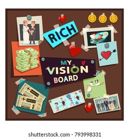 Vision board samples vector cartoon illustration with dreams and desires.