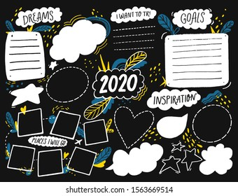 Vision board template with space for goals, dreams list, travel plans and inspiration. Collage frames for teens, nursery poster design. Journal page for planning, new year resolutions chalkboard 2020