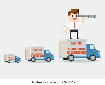 vision of businessman growing small business to medium and large with logistics