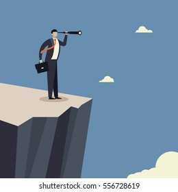 Vision . Businessman standing on cliff edge and looking success. Business concepts in vector.