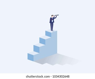 Vision concept in business with vector icon.businessman and telescope.monocular. Symbol leadership,strategy, mission, objectives.Vector flat cartoon character design illustration.